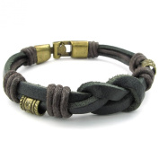 KONOV Jewellery Mens Leather Rope Bracelet, Tribal Braided Infinity Symbol Cuff Bangle, Black Gold