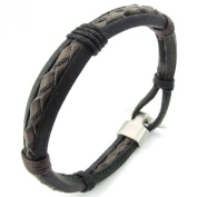 KONOV Jewellery Mens Womens Leather Rope Bracelet, Tribal Braided Cuff Bangle, Brown Black