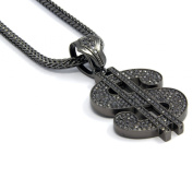 Mens Grey Iced Out$ Money Sign Pendant Hip-Hop 90cm Inch Franco Necklace Chain