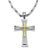 "Mens 30"" Stainless Steel 4mm Box Chain Necklace Gold Plated Rough Cross Pendant"