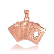 Solid 14k Rose Gold Royal Flush of Spades Poker Necklace Pendant