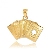 Solid 14k Yellow Gold Royal Flush of Spades Poker Necklace Pendant