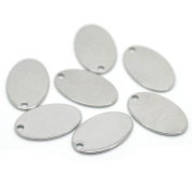 20 Stainless Steel Stamping Blanks Tags Oval Charm Pendants 19mmx12mm