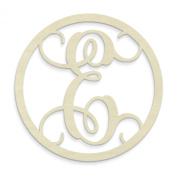 UNFINISHEDWOODCO Single Letter Circle Monogram-E, 48cm , Unfinished