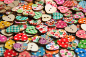 Heart Shaped Painted 2 Hole Wooden Buttons 18mm X15mm
