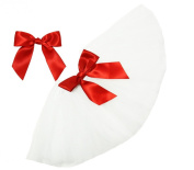 White Infant Tutu & Red Hair Bow Set