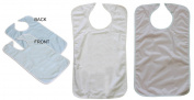 (2) Blue and (1) White Terry Adult Bibs with Vinyl Barrier