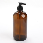 Thick-plated Dark Amber Glass Round Bottle with Black Soap Dispenser Pump