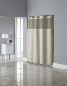 Hookless Square Tile Jacquard Shower Curtain with Snap-In Fabric Liner, Champagne