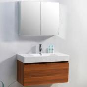 Virtu USA JS-50339-PL 100cm Zuri Single Sink Bathroom Vanity, Plum