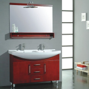 "120cm Red Cherry Wood & Porcelain Counter Top with 2 Sinks Vanity Set- ""Douglas"""