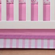 Breathable Baby Pink Mist Stripe Crib Skirt