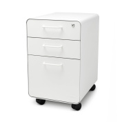 Poppin White Stow Rolling 3-Drawer File Cabinet, Available in 10 Colours, Legal/Letter
