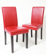 Roundhill Urban Style Solid Wood Leatherette Padded Parson Chair, Red, Set of 2