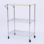 HomCom 60cm Portable Rolling Wire Shelf Wood Top Kitchen Storage Trolley