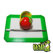 13cm x 10cm Silicone Mat & Rasta Non-Stick Ball Container Jar w/ Wax Extract Carving Tool