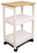 Catskill Craftsmen Utility Kitchen Cart/Microwave Stand, White Base with Natural Top