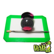 13cm x 10cm Silicone Mat & Black/Pink Non-Stick Ball Container Jar w/ Wax Extract Carving Tool