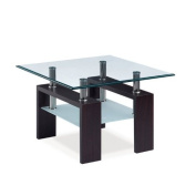 Global Furniture USA T646 Clear/Frosted Occasional End Table with Black Legs