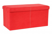 The FHE Group Folding Storage Bench, 30 by 38cm by 38cm , Red Suede