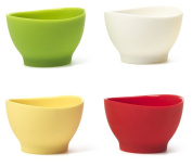 iSi Basics Flexible Silicone Pinch Bowl, Set Of 4, 1 Each, Red, White, Wasabi, Yellow