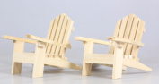 2 Adirondack Plain Wood Chairs and 2 Fences Cake Decorations