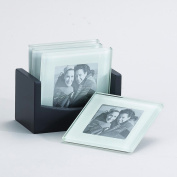 10cm Frame Photo Glass Coaster, For 6.4cm x 6.4cm Photo, Set of 4