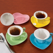 (Set of 4) Heart Shaped Cups And Saucers