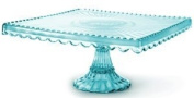 Loire Glass Square Cake Stand - Blue
