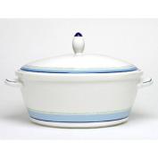 Noritake Java Blue Swirl 2.4l Covered Vegetable Bowl