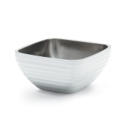Vollrath 4761950 Stainless Steel Square Double Wall Insulated Serving Bowl, Pearl White, 0.7l