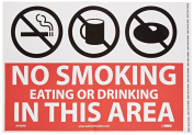 """NMC M760PB No Smoking Sign, Legend """"NO SMOKING EATING OR DRINKING IN THIS AREA"""" with Graphic, 36cm Length x 25cm Height, Pressure Sensitive Vinyl, Black/White on Red"""