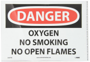 "NMC D597PB OSHA Sign, Legend ""DANGER - OXYGEN NO SMOKING NO OPEN FLAMES"", 36cm Length x 25cm Height, Pressure Sensitive Vinyl, Black/Red on White"