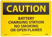 """NMC C386RB OSHA Sign, Legend """"CAUTION - BATTERY CHARGING STATION NO SMOKING OR OPEN FLAMES"""", 36cm Length x 25cm Height, Rigid Plastic, Black on Yellow"""