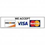 ComplianceSigns Plastic Payment Policies Sign, 20cm x 5.1cm . with English Text, White