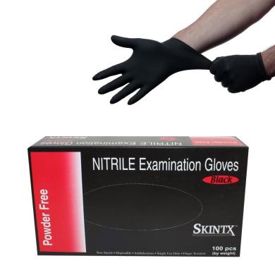 Black Latex Powder Free Disposable Medical Exam Tattoos Piercing Gloves - Size Small - 100 gloves/Box