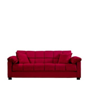 Handy Living CAC4-S1-AAA47 050 Living Room Convert-A-Couch Microfiber Sleeper Sofa With Pillow Top Arms, Crimson With 2 Decorative Decorative Throw Pillows