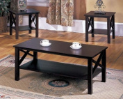 King's Brand 3 Pc. Cherry Finish Wood X Style Casual Coffee Table & 2 End Tables Occasional Set
