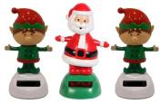 Solar Powered Dancing Christmas Santa and Elves Set