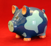 16cm Camoflauge Classic Blue Pig Piggy Bank