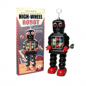 Vintage Style Black Windup Tin High Wheel Robot