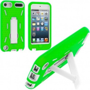 Green / White Hybrid Rugged Hard Silicone Case Cover w/ Stand for Apple iPod Touch 5th Generation 5G 5