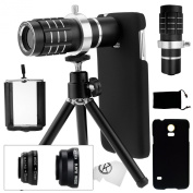 Samsung Galaxy S5 Camera Lens Kit including a 12x Telephoto Lens / Fisheye Lens / 2 in 1 Macro Lens and Wide Angle Lens / Mini Tripod / Universal Phone Holder / Telephoto Lens Holder Ring / Hard Case for S5 / Velvet Phone Bag / CamKix® Microfiber Clea ..