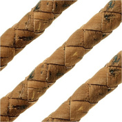 Regaliz Portuguese Cork Cord, Round and Braided 10mm, By The Inch, Saddle Brown