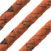 Regaliz Portuguese Cork Cord, Round and Braided 10mm, By The Inch, Orange