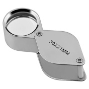 Xhan 30 X 21mm Glass Jeweller Loupe Loop Eye Magnifier Magnifying Magnifier Metal Body Silver