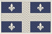 Quebec Canada Flag Iron-on Patch Biker Emblem White Merrow Border