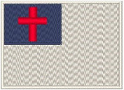 Christian Embroidery Iron-on Patch Biker Emblem White Merrow Border