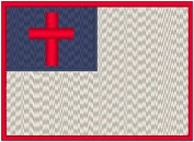 Christian Embroidery Iron-on Patch Biker Emblem Red Merrow Border