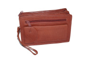 "Men's wrist bag DOLPHIN, Genuine Leather, cognac - ""LEAS Men's Bags"""